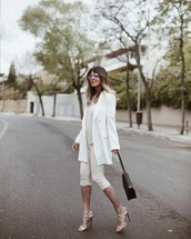 shorts,white shorts,sequins,zara,white blazer,double breasted,white sandals,jimmy choo,white top,black bag