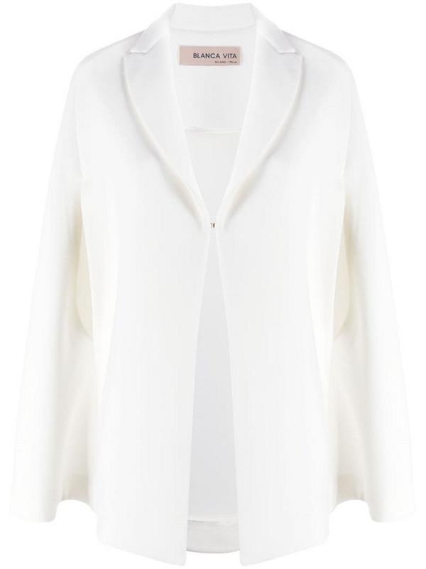 Blanca Vita single-breasted cape blazer in white