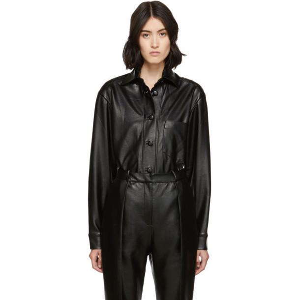 Materiel Tbilisi SSENSE Exclusive Black Vegan Leather Oversized Shirt