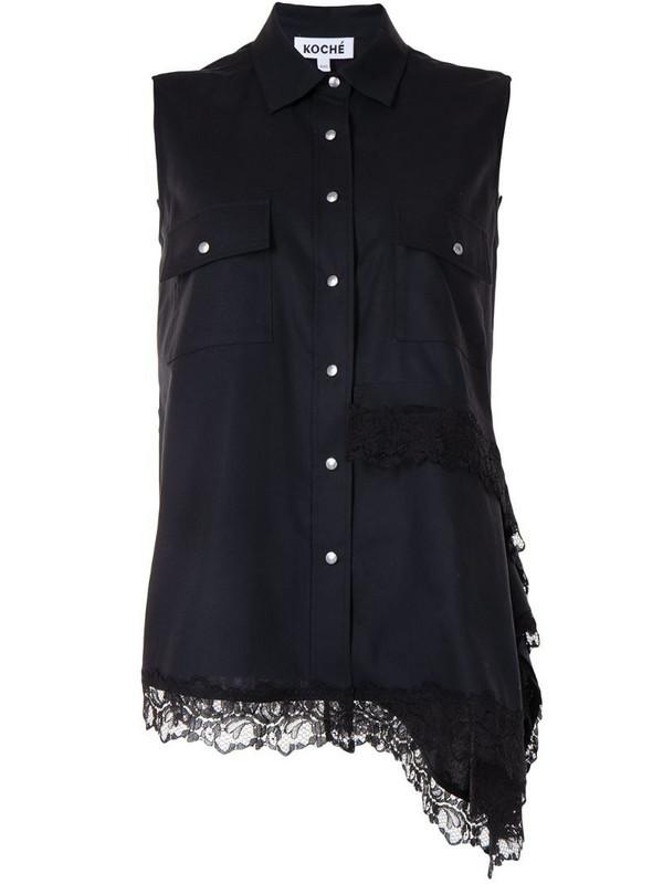 Koché asymmetrical sleeveless blouse in black