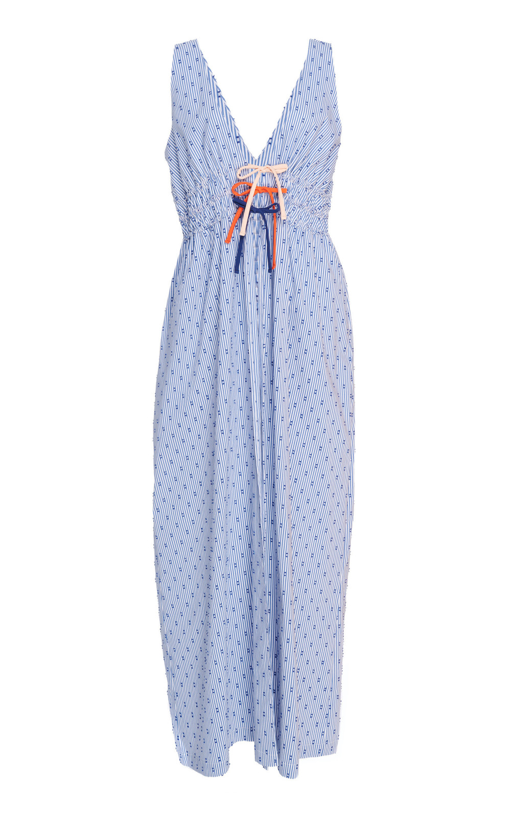 Flagpole Mabel Striped Cotton-Blend Midi Dress in blue