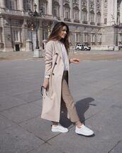 coat,long coat,white sneakers,straight pants,sweatshirt