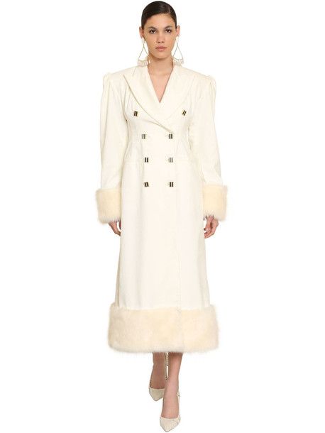 ROWEN ROSE Cotton Velvet Coat W/faux Fur Trim in white