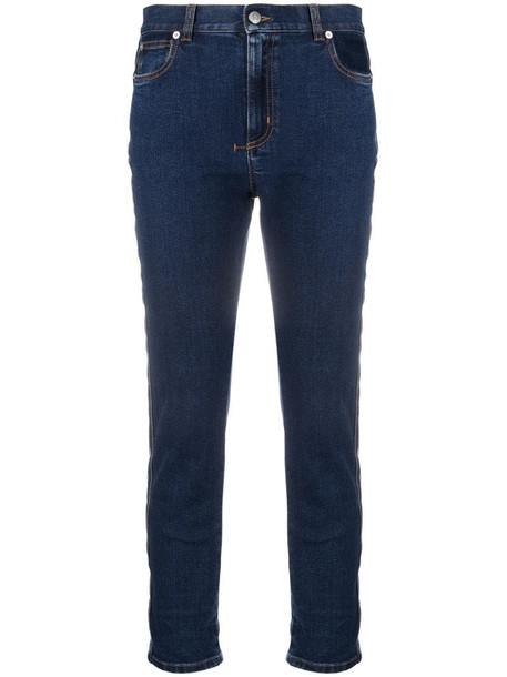 Alexander McQueen side-stripe slim-fit jeans in blue
