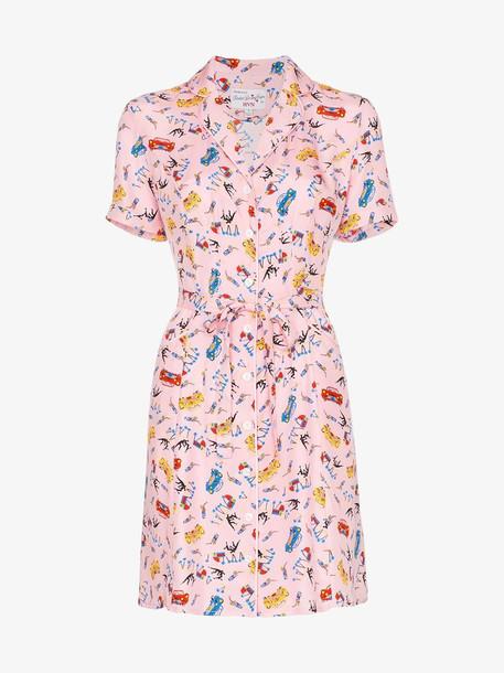 HVN Maria Miami print silk mini dress