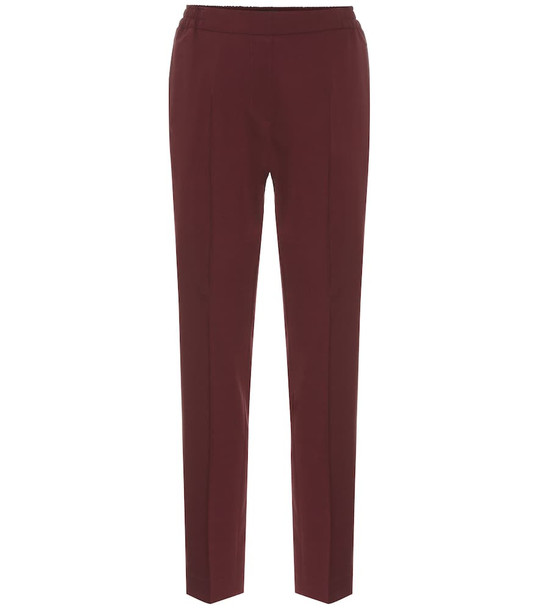 Etro Stretch-wool high-rise pants in red