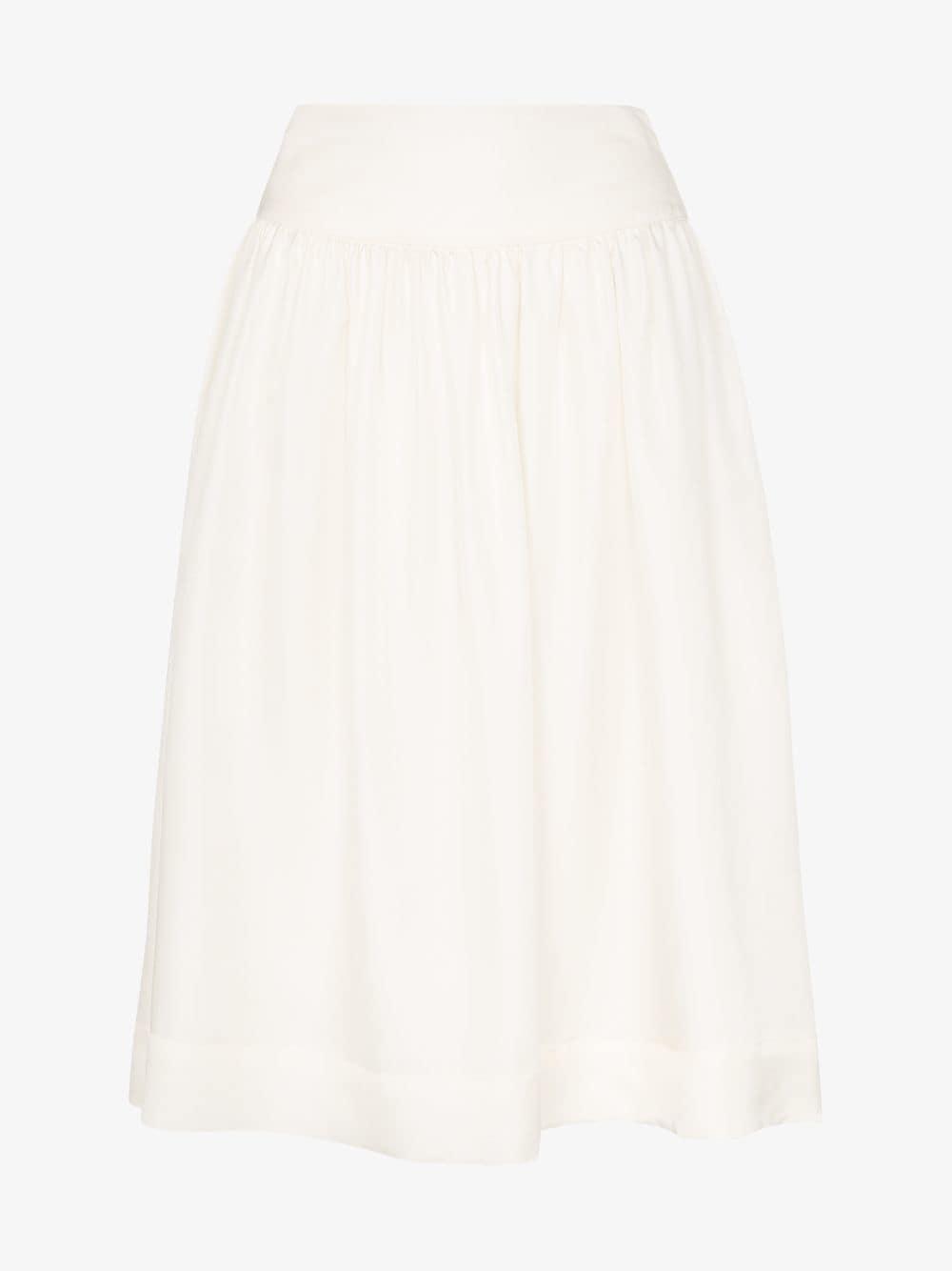 Deitas Shima high-waisted silk midi-skirt in white