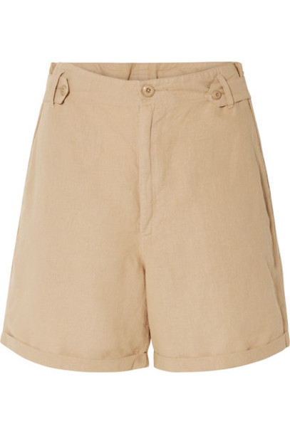 The Great - The Explorer Linen And Cotton-blend Shorts - Sand