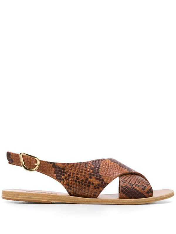 Ancient Greek Sandals Maria snakeskin effect sandals in neutrals