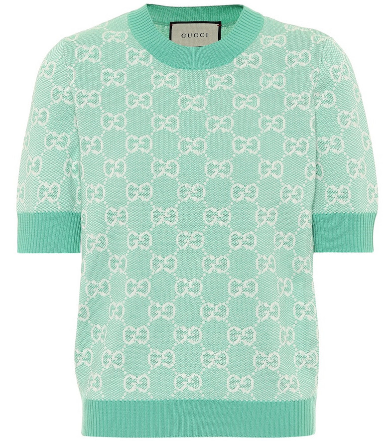 Gucci GG wool and cotton piqué sweater in green