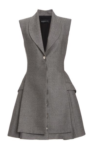 Brandon Maxwell Vest Overlay Dress in grey