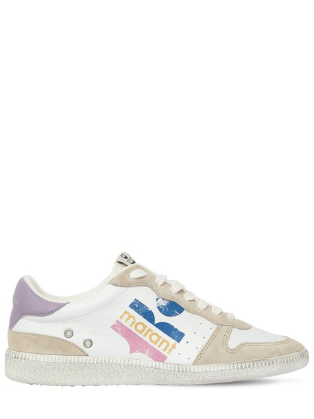 ISABEL MARANT 20mm Bulian Logo Leather Sneakers in lilac / white