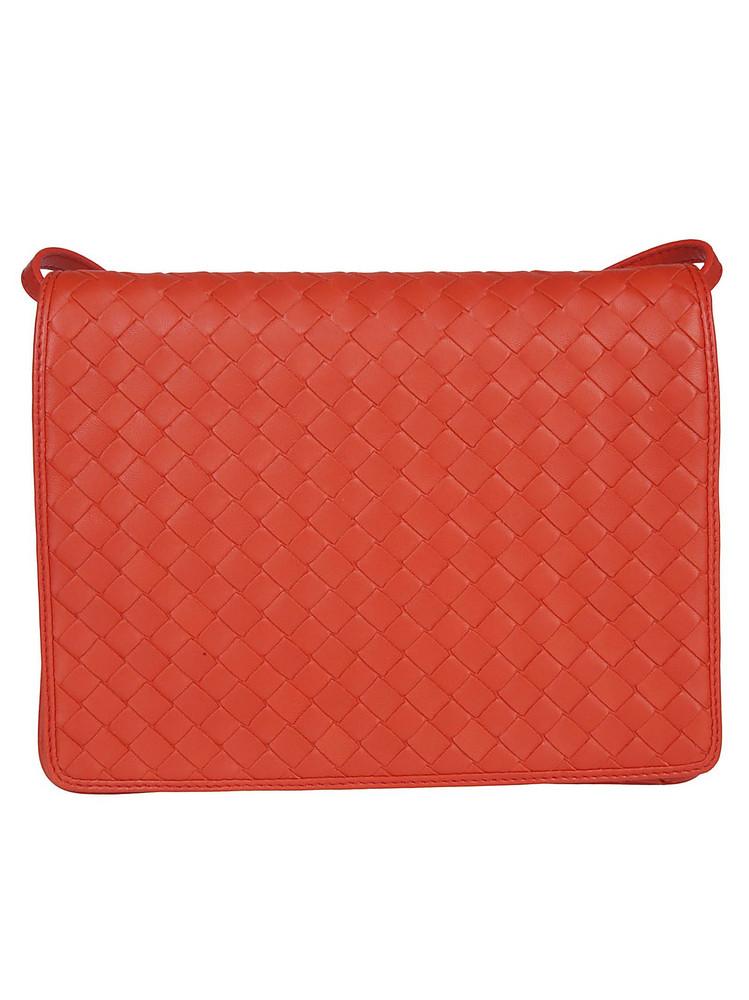 Bottega Veneta Woven Shoulder Bag in red