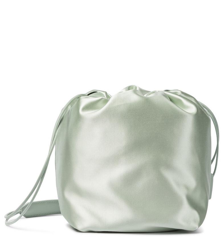 Jil Sander Small satin bucket bag in green