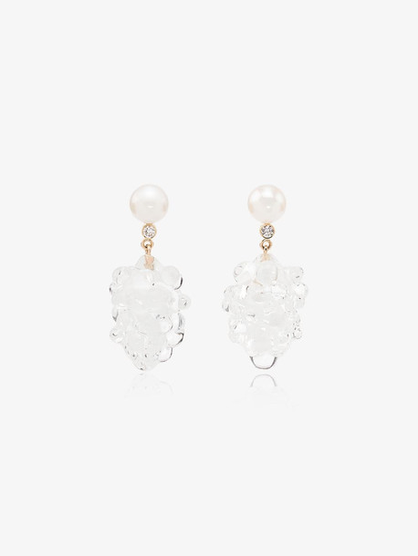 Sophie Bille Brahe 14K yellow gold Grappolo diamond and pearl drop earrings