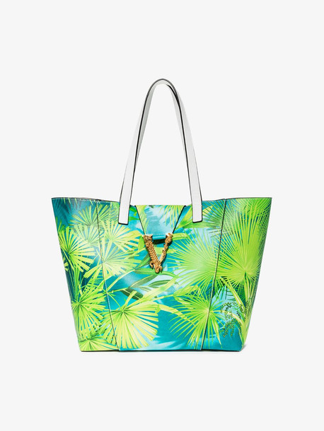 Versace Green leather tropical Virtus tote