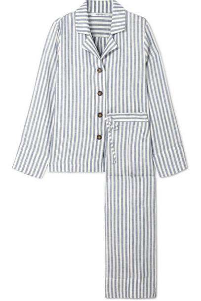 Sleeper - Striped Linen-gauze Pajama Set - Blue