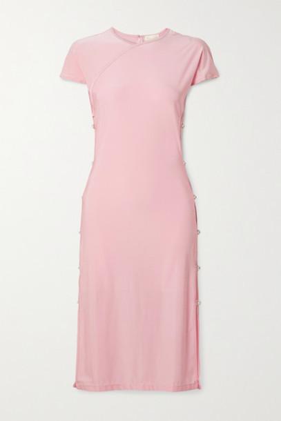 Marcia - Tchikiboum Cutout Crystal-embellished Stretch-econyl Midi Dress - Baby pink