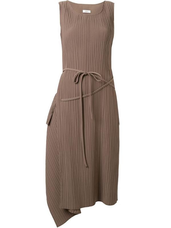 Goen.J asymmetric drape shift dress in brown