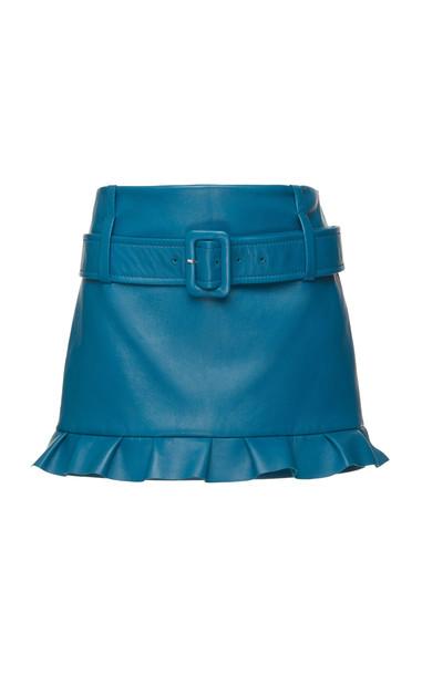 Prada Leather Mini Skirt in blue