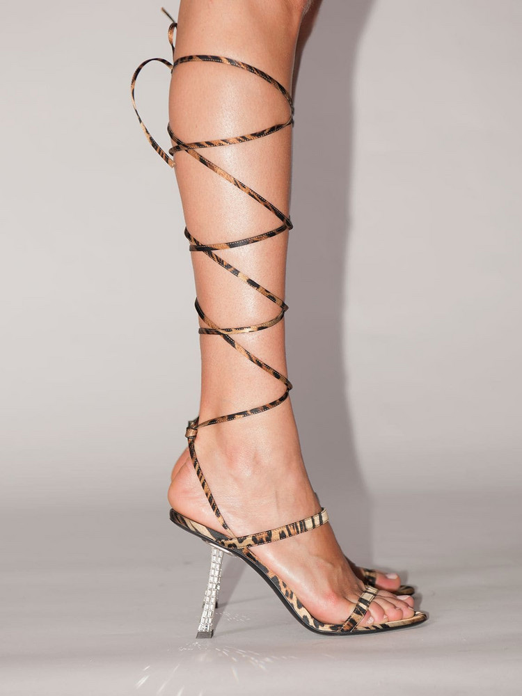 GIUSEPPE ZANOTTI DESIGN 85mm Farrah Leopard Print Silk Sandal