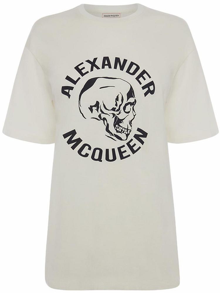 ALEXANDER MCQUEEN Skull Printed Cotton Jersey T-shirt in ivory