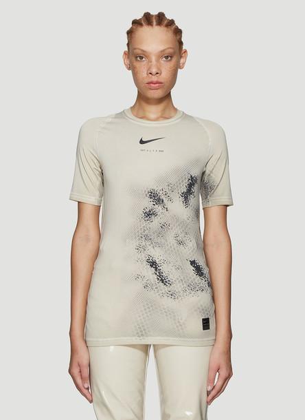 1017 ALYX 9SM X Nike Logo Print T-Shirt in Beige size M
