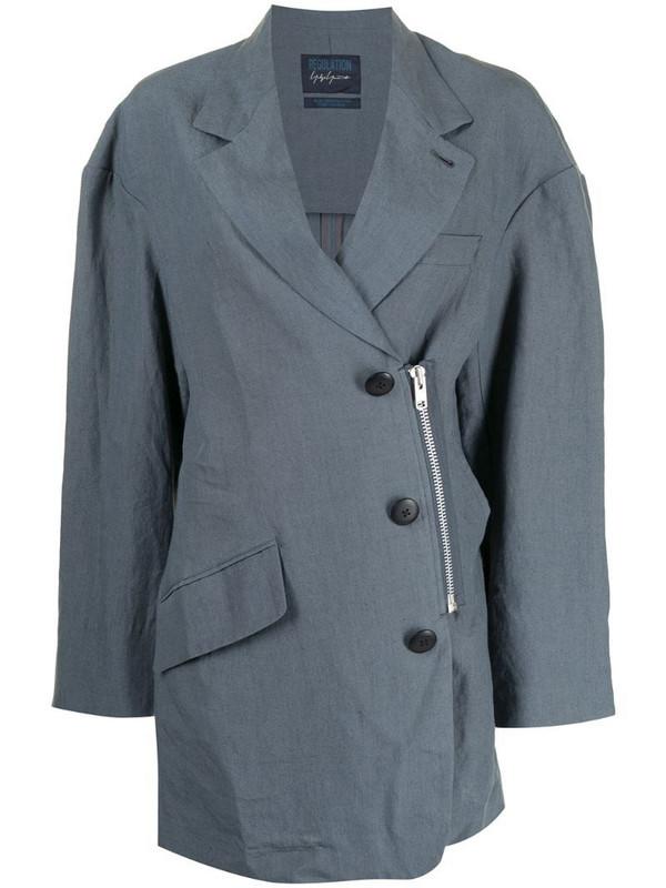 Yohji Yamamoto deconstructed single-breasted blazer in blue