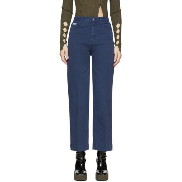 Alexachung Blue Cropped Wide-Leg Jeans