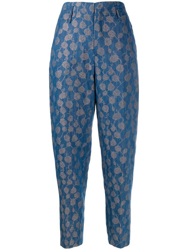 Forte Forte high-waisted patterned trousers in blue