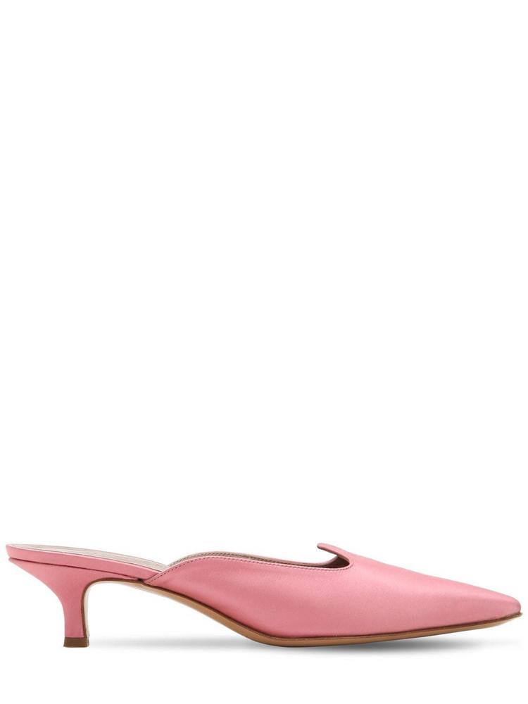 LE MONDE BERYL 30mm Satin Kitten Heel Mules in pink