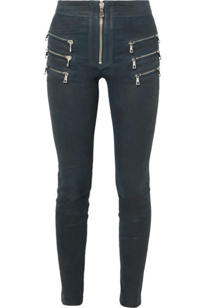 Unravel Project - Zip-detailed Leather Skinny Pants - Navy