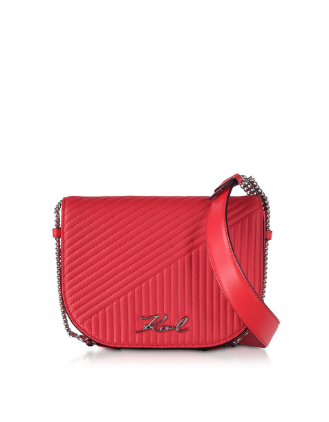 Karl Lagerfeld K/signature Fire Red Quilted Leather Shoulder Bag