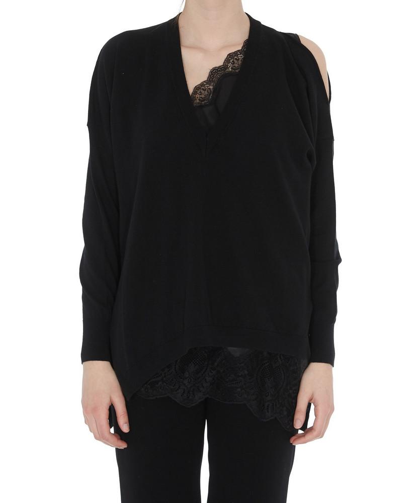 (nude) V Neck Pullover in black