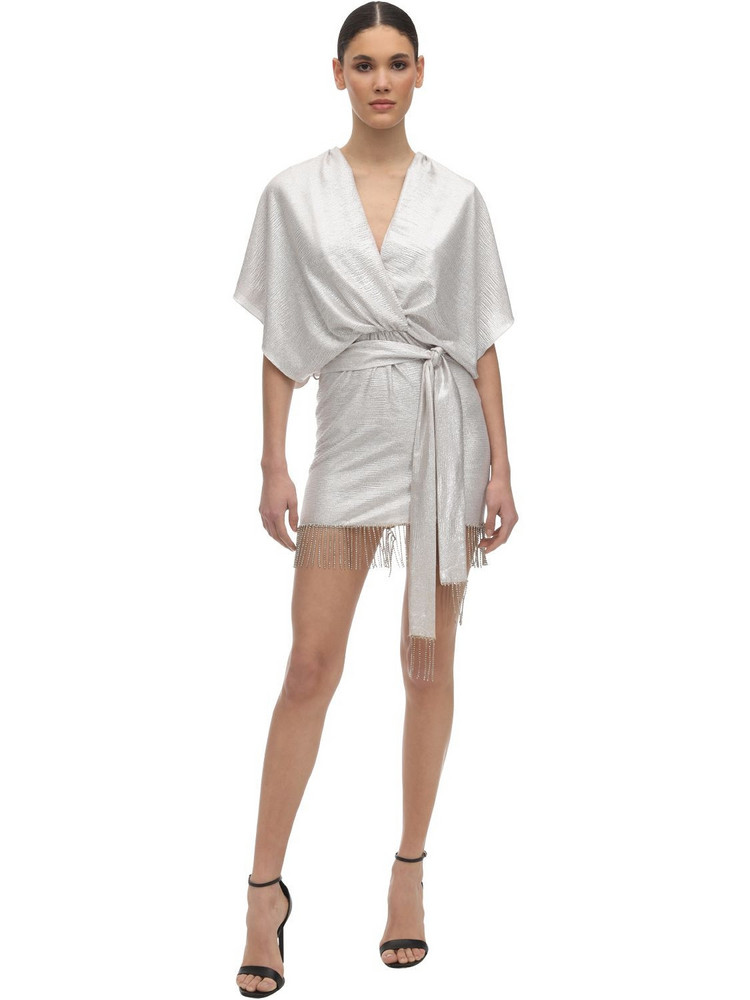 IN THE MOOD FOR LOVE Metallic Wrap Mini Dress W/ Fringes in silver
