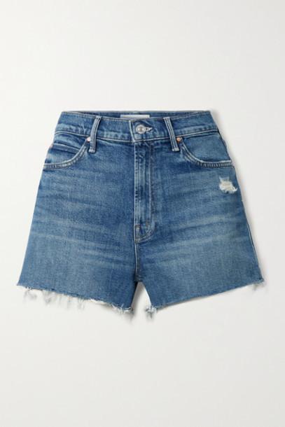 MOTHER - The Dutchie Distressed Denim Shorts - Mid denim