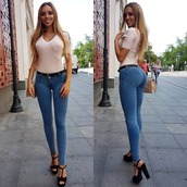 pants,treggings,jeans,bllue,denim,tight,weronika bielik,skinny,washed,washed out,leggings,jeggings