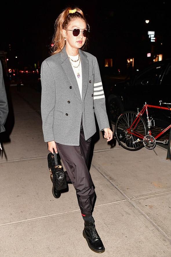 jacket gigi hadid model off-duty sunglasses top pants boots celebrity fall outfits fall colors