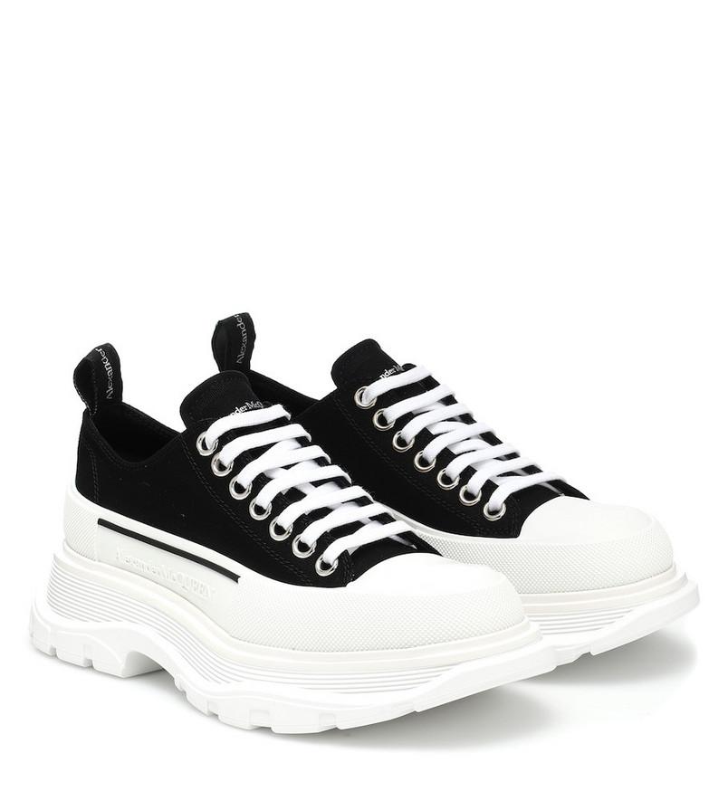 Alexander McQueen Tread Slick canvas platform sneakers in black