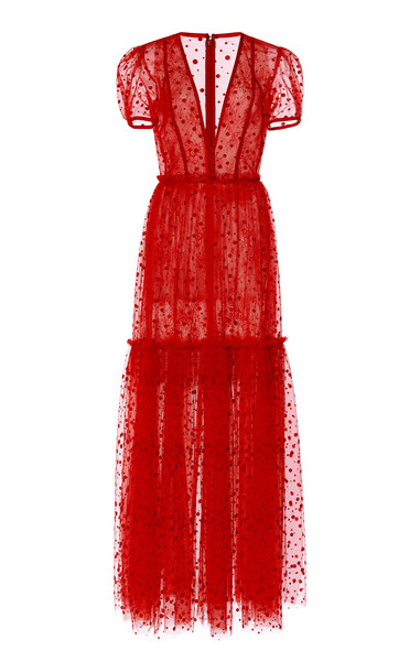 Costarellos Flocked Dot Plunging Neckline Tulle Dress With Tiered Skir in red