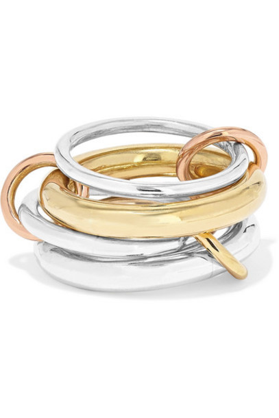Spinelli Kilcollin - Set Of Four 18-karat Yellow And Rose Gold And Sterling Silver Rings