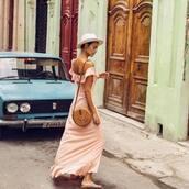 dress,pink dress,maxi dress,off the shoulder dress