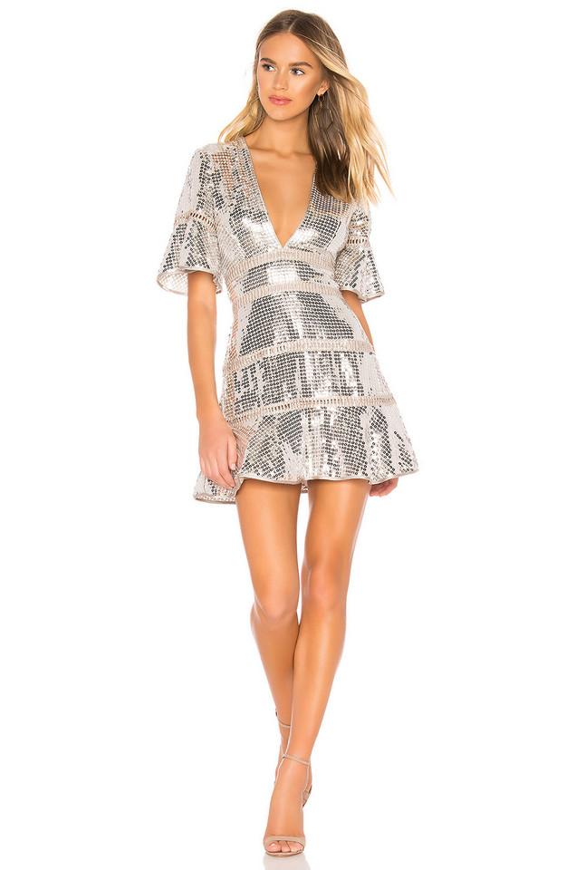 SAYLOR Sidney Dress in metallic / silver