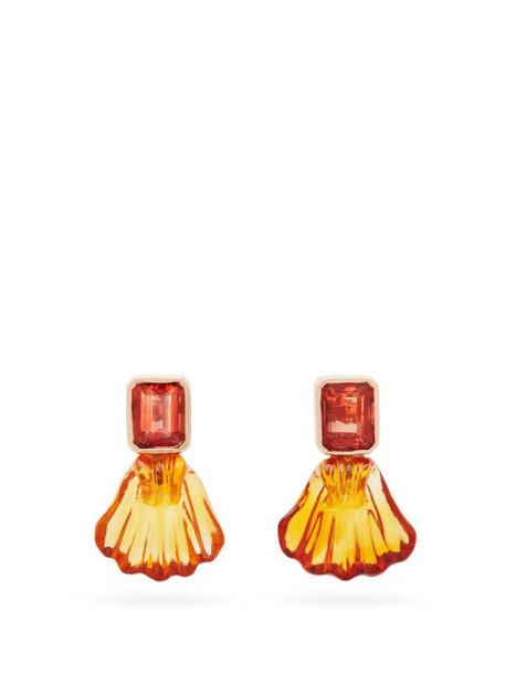 Dezso - Tourmaline Shell & 18kt Gold Earrings - Womens - Orange