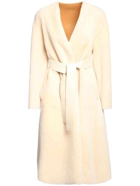 BLANCHA Reversible Light Merino Shearling Coat in camel / white