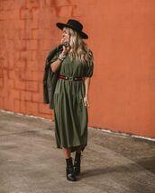 dress,midi dress,short sleeve dress,ankle boots,black boots,blazer,hat