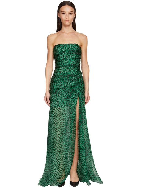 ERMANNO SCERVINO Leopard Print Organza Corset Dress in black / green