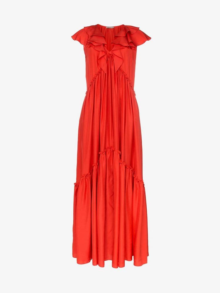 Three Graces Whilhelmina silk layered ruffle neck dress in red