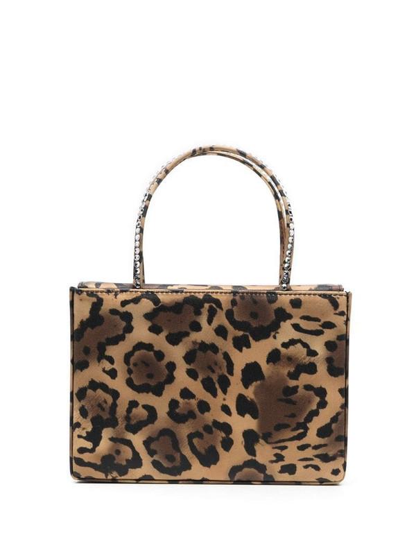 Amina Muaddi Gilda satin leopard print clutch in brown