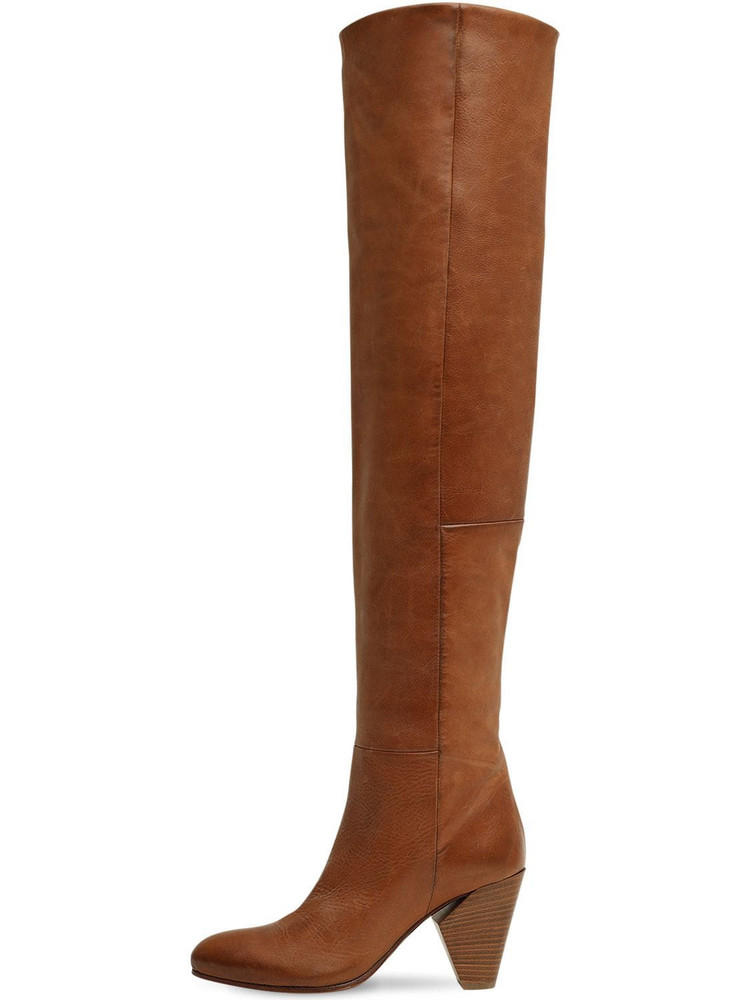 STRATEGIA 80mm Leather Over The Knee Boots in tan